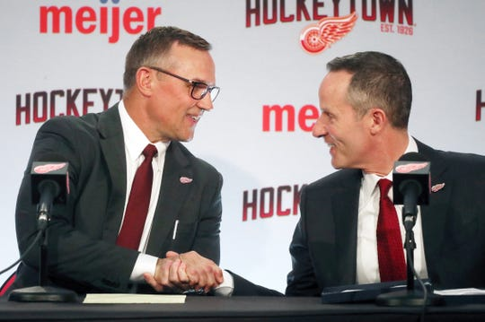 Christopher Ilitch welcomes new Detroit Red Wings GM Steve Yzerman Friday, April 19, 2019 at Little Caesars Arena in Detroit, Mich.