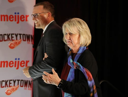Marian Ilitch is escorted by new Detroit Red Wings GM Steve Yzerman on Friday, April 19, 2019 at Little Caesars Arena in Detroit, Mich.