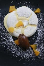 An orange pavlova dessert from Forest in Birmingham.
