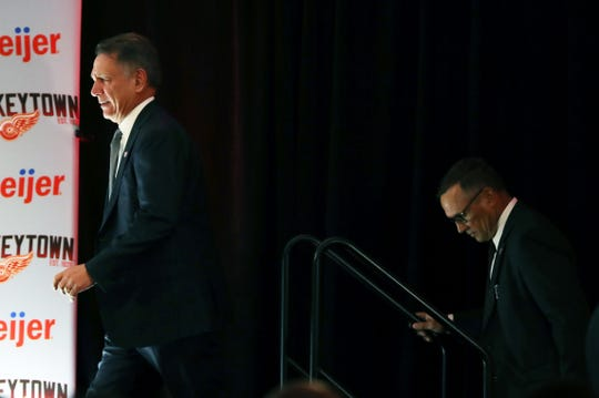 Ken Holland and Steve Yzerman arrive for the news conference to announce Yzerman and the Detroit Red Wings new general manager on Friday, April 19, 2019 at Little Caesars Arena.