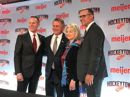 From left: Christopher Ilitch, Ken Holland, Marian Ilitch and Steve Yzerman after Yzerman was announced as the Detroit Red Wings new general manager April 19, 2019, at Little Caesars Arena in Detroit.