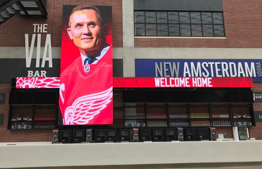 A Little Caesars Arena digital board welcomes back Steve Yzerman on Friday, April 19, 2019.