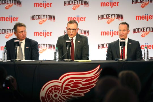 Ken Holland new Detroit Red Wings GM Steve Yzerman and Christopher Ilitch take questions Friday, April 19, 2019 at Little Caesars Arena in Detroit, Mich.