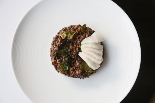 Black rice with toasted nori and cobia from Forest in Birmingham.