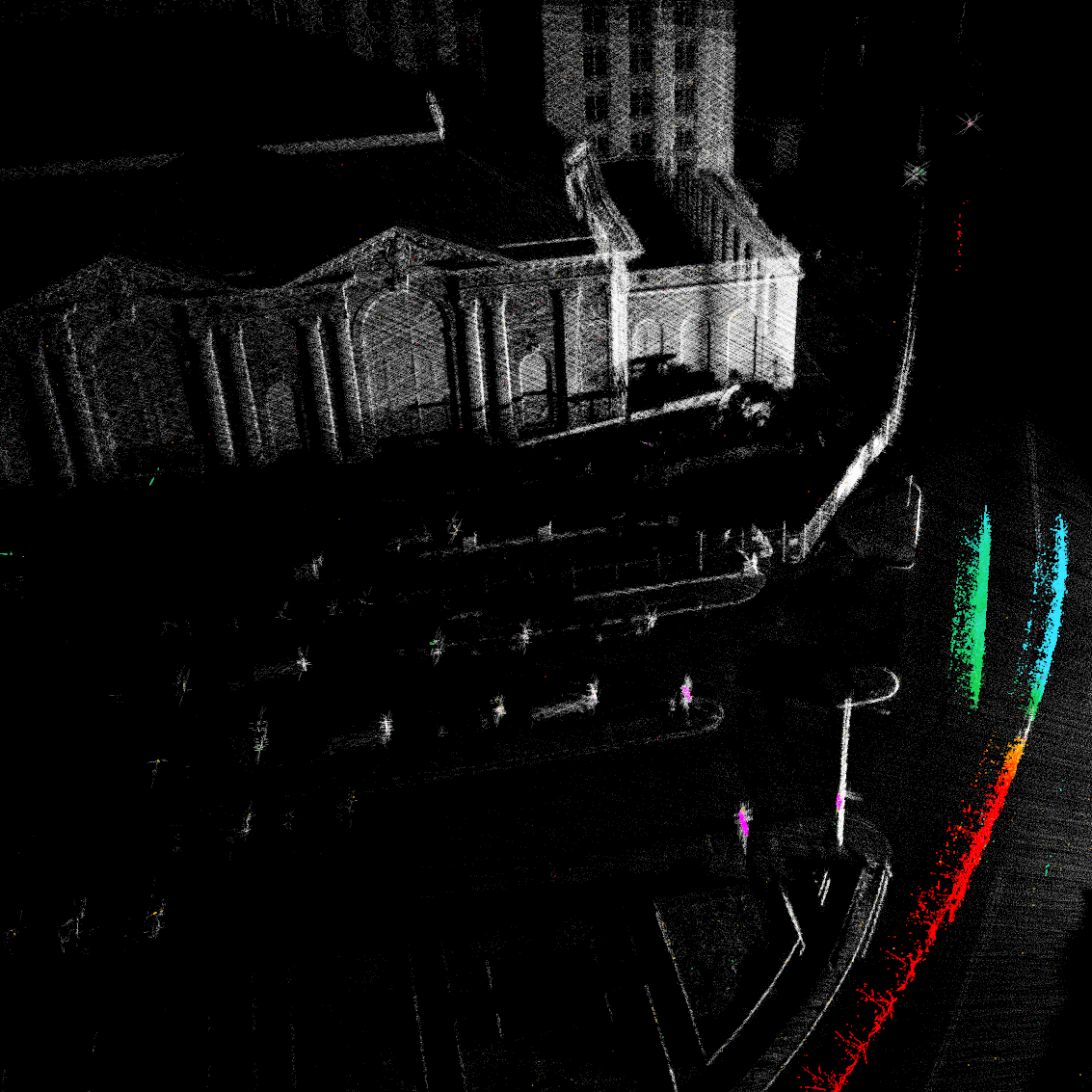 An image of how Detroit's Michigan Central Station looks using lidar.