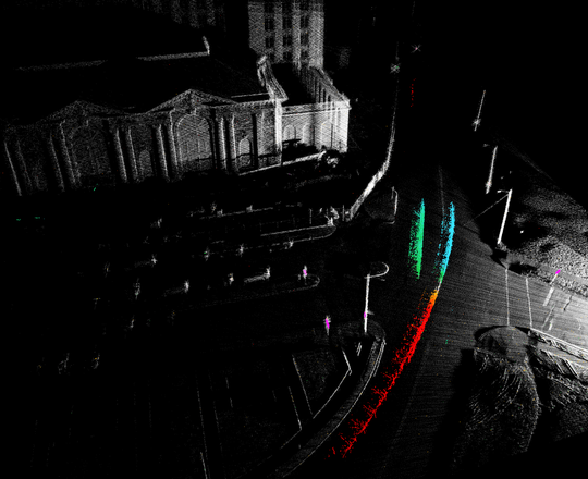 An image of Detroit's Michigan Central Station using lidar.