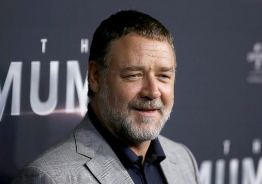 "In this May 22, 2017, file photo, actor Russell Crowe arrives for the Australian premiere of the movie ""The Mummy"" in Sydney, Australia. The Oscar-winning actor sent out a series of tweets on Friday, April 19, 2019, from various spots in Detroit."