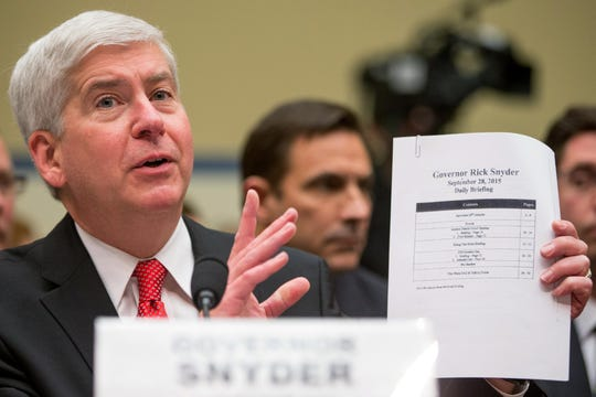 Then-Gov. Rick Snyder testifies before a House Oversight and Government Reform Committee hearing Thursday, March 17, 2016, on the circumstances surrounding lead found in tap water in Flint. The state  has turned over more records to the committee.