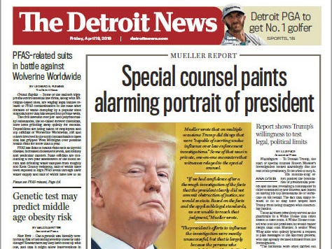 The front page of the Detroit News on April 19, 2019.