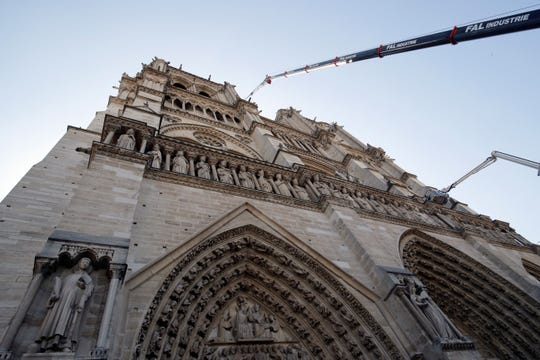 A crane works at Notre-Dame cathedral in Paris, Friday, April 19, 2019.