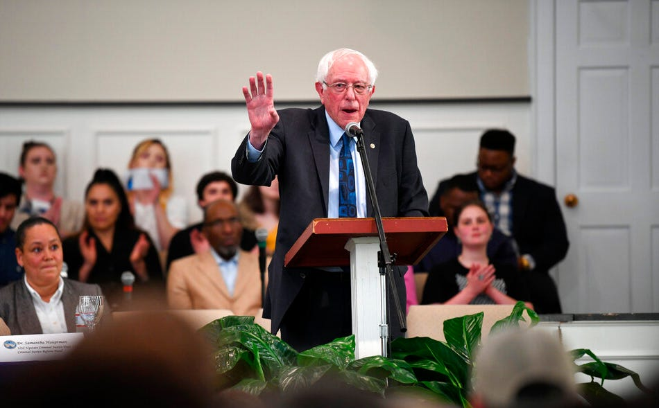 Sen. Bernie Sanders speaks during a town hall with black lawmakers, Thursday, April 18, 2019, in Spartanburg, S.C. Ahead of the event, Sanders announced 2020 campaign endorsements from seven black South Carolina lawmakers, a show of force in state where black voters comprise more most of the Democratic primary electorate.
