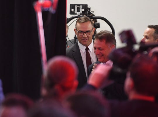 Steve Yzerman arrives at the press conference on Friday.