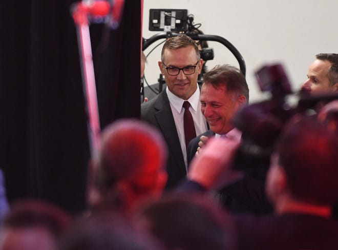 Steve Yzerman arrives for Friday's press conference.