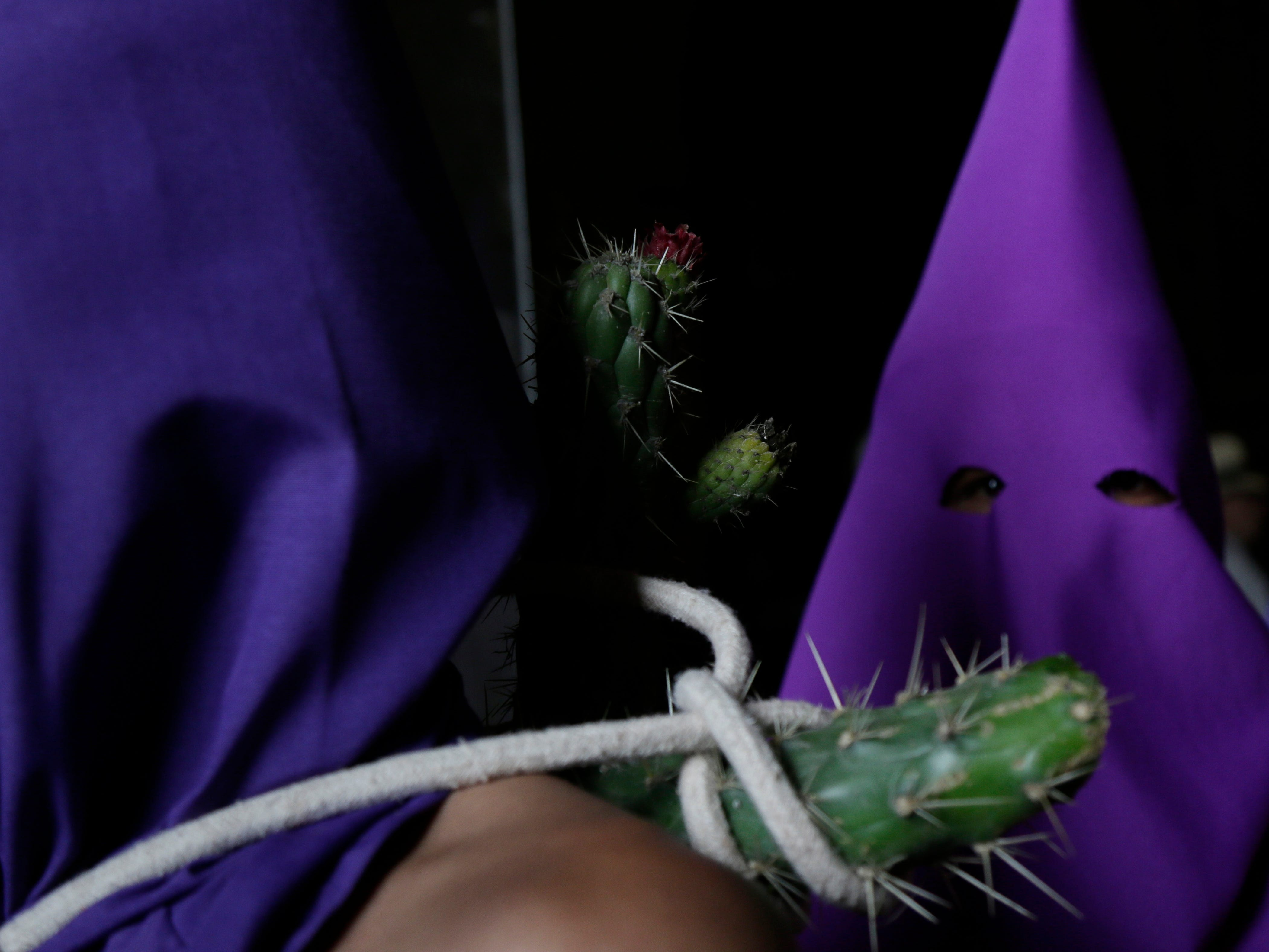 Hooded penitents prick themselves with cactus as they leave San Francisco church during the Jesus del Gran Poder procession on Good Friday in Quito, Ecuador, Friday, April 19, 2019. Christians all over the world attend mock crucifixions and passion plays that mark the day Jesus was crucified, known to Christians as Good Friday.