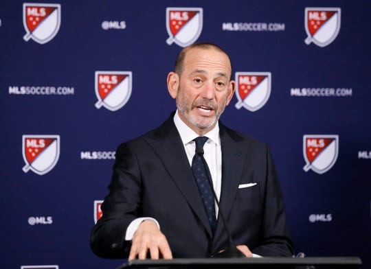 Major League Soccer Commissioner Don Garber discusses plans to expand the league to 30 teams during the MLS Board of Governors meeting in Los Angeles on Thursday.