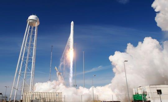 The Antares rocket lifts off from the NASA Wallops Flight Facility in Wallops Island, Va., Wednesday, April 17, 2019.