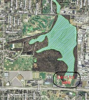 Circled is land along Division Street, on the edge of Wesselman Woods Nature Preserve, that the University of Evansville will put on the open market.