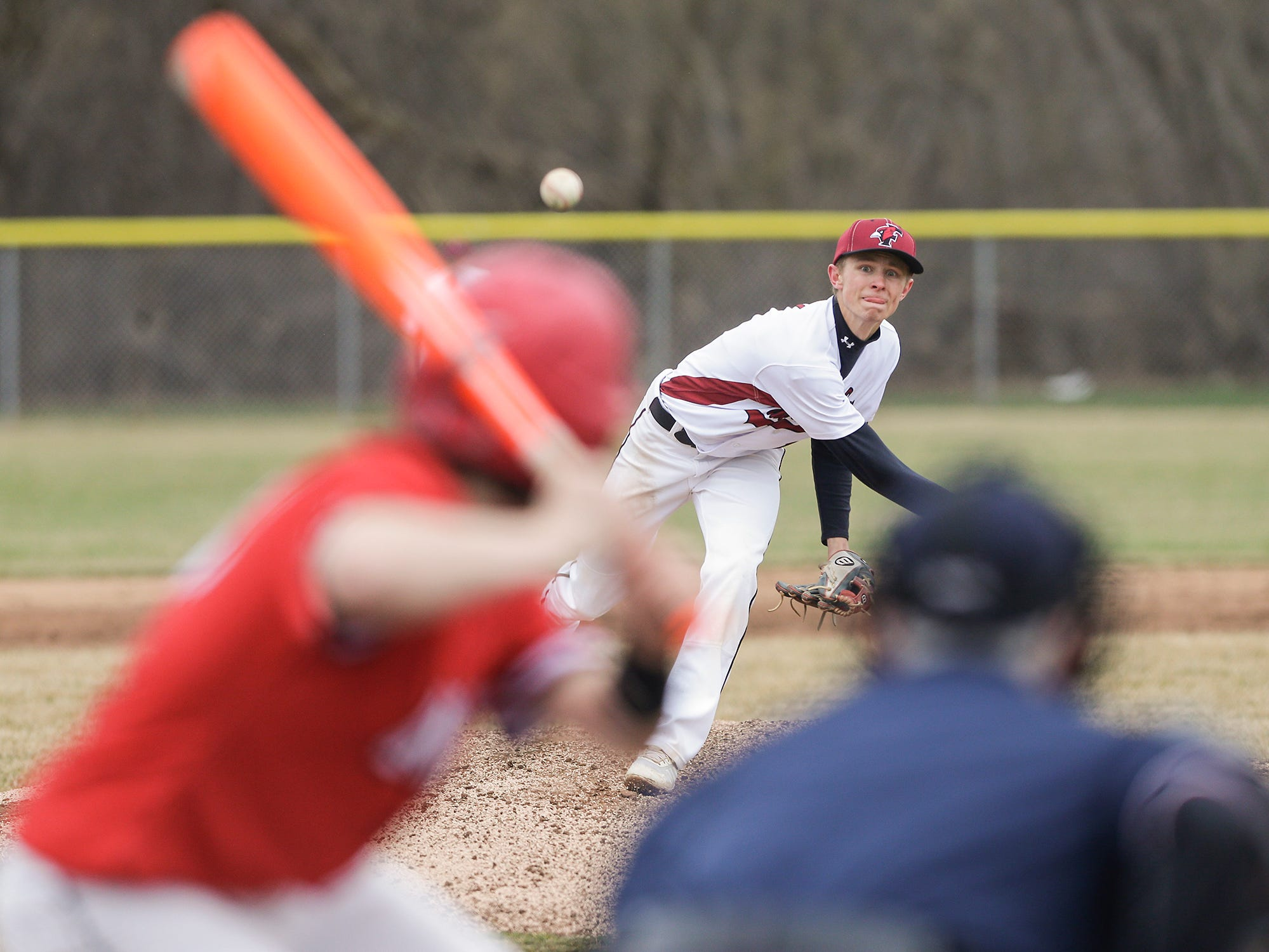 Fond du Lac High School baseball's Caden Krug pitches against Neenah High School during their game Thursday, April 18, 2019 in Fond du Lac, Wis. Doug Raflik/USA TODAY NETWORK-Wisconsin