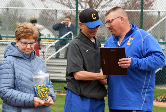 Clyde athletic director Ryan Greenslade, right, played three sports for the Fliers. Marc Marshall, left, coached Greenslade's sisters, Jennifer Hohman and Marissa Greenslade, for softball.