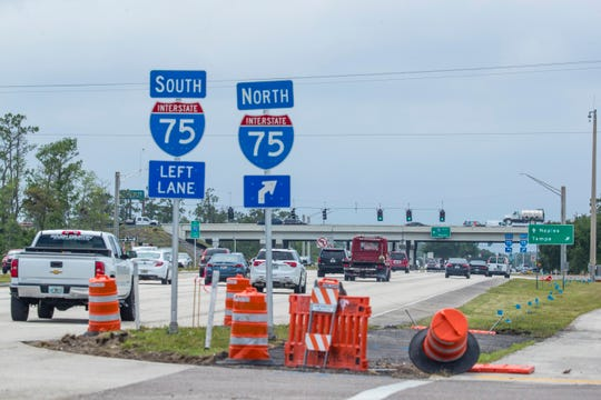 Intersection of Interstate 75 and Daniels Parkway, one of the busier spots in the county during tourist season. County Commissioners are making some tweaks in the long-term strategy to resolve chronic traffic jams on east-west roadways.
