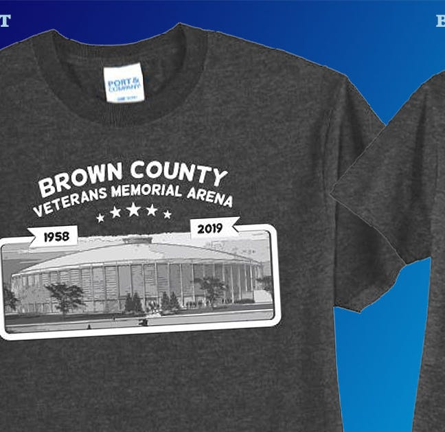 Commemorative Brown County arena T-shirt lists 60 acts who played the building