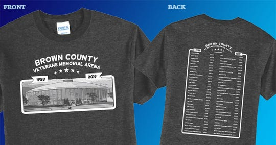 T-shirts commemorating Brown County Veterans Memorial Arena list some of the many acts who played the building that opened in 1958.