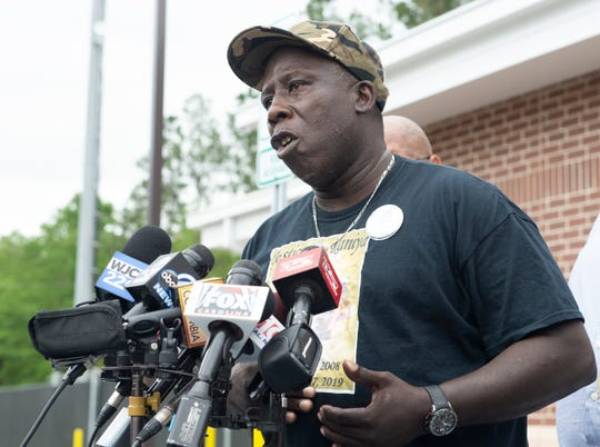Raniya Wright's grandfather, Ernest Wright, talks to media gathered outside the Colleton County Law Enforcement Center Friday, April 19, 2019.