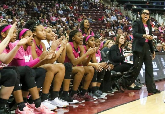 Coach Dawn Staley and the bench react to a call Feb. 14, 2019, during the second half of action against Georgia in the Colonial Life Arena.