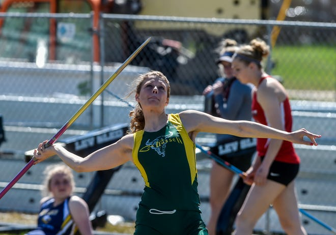 CMR's Kylee Gilcher throws the javelin on Friday at the Optimists Great Falls Invitational Track Meet.