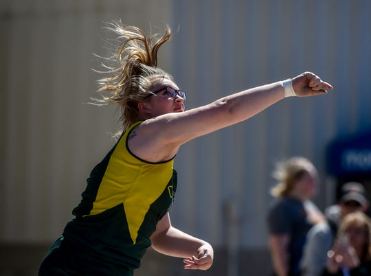 CMR's Breanna Johns competes in the shot put event during the Optimists Great Falls Invitational Track Meet at Memorial Stadium last Spring.