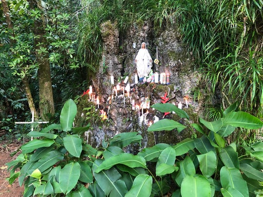 A shrine of the Virgin Mary along the path up Mt. Jumullong Manglo on April 19, 2019.