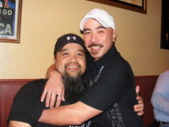 The late John Toves, right, with his friend Antonio M. Salas, left, during Salas' March 2010 birthday party in San Francisco, California. Toves, the first person to expose former Archbishop Anthony Apuron's sexual abuse, died April 17 in Foster City, California.