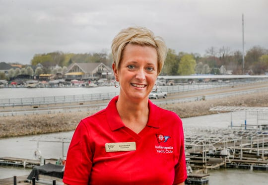 Indianapolis Yacht Club Commodore Lori Stadick stands on the deck of the Yacht Club, located on Geist Reservoir, 12900 Fall Creek Rd., McCordsville, Ind., on Thursday, April 18, 2019.