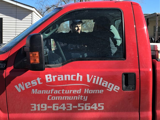 State Sen. Zach Wahls, D-Coralville, knocked on doors at West Branch Mobile Village to see if there was appetite to organize among mobile homes tenants in his district, on Friday, April 19, 2019.