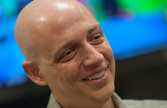 Mike Sands, who was an anchor with Fox 40 in Jackson, talks with the Clarion Ledger in April about continuing his cancer treatment in Philadelphia. Sands, 34, died Saturday, Oct. 26, 2019.