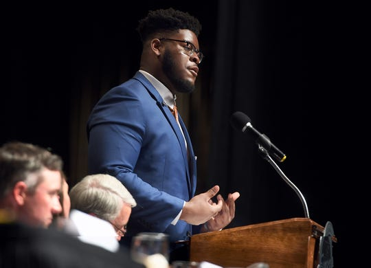 Trey Smith speaks at the 2019 Jackson-Madison County Sports Hall of Fame Banquet on April 18, 2019.