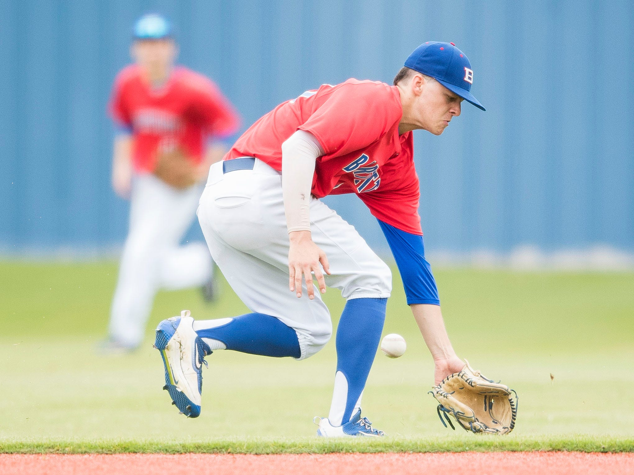 Bartlett's Brayden Arendale misjudges the ball during a baseball game between CAK and Bartlett held at CAK in Knoxville on Friday, April 29, 2019.