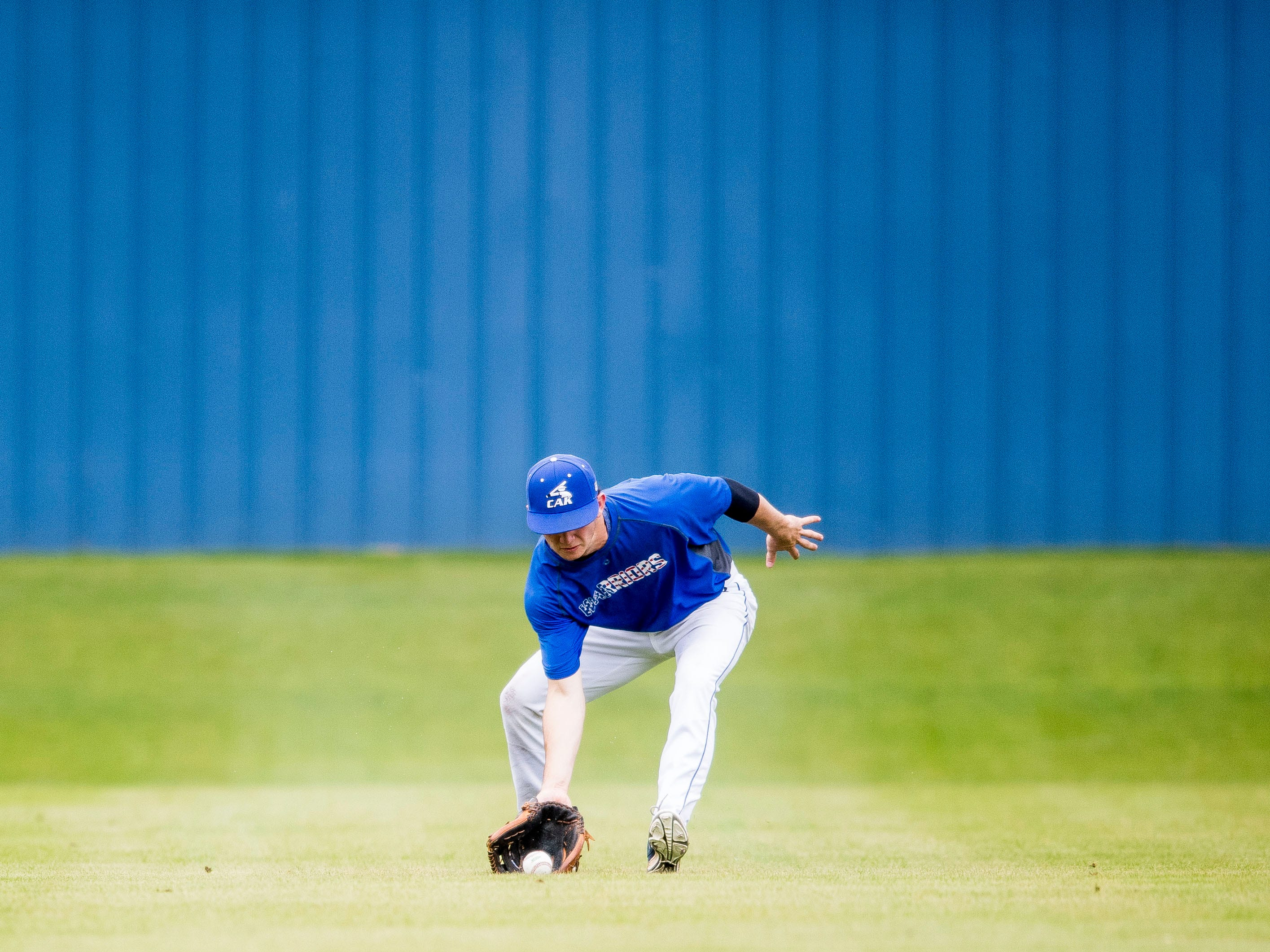 CAK's Zane Keener fields the ball during a baseball game between CAK and Bartlett held at CAK in Knoxville on Friday, April 29, 2019.