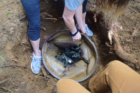 The time capsule is found after only 37 minutes of digging.