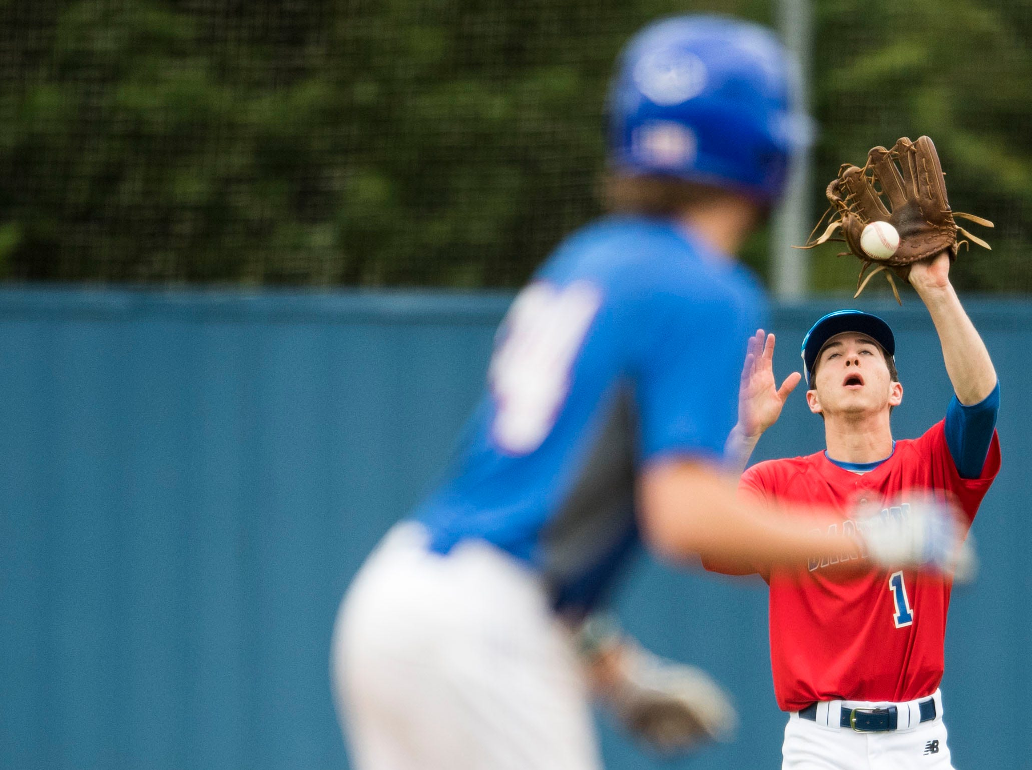 Bartlett's Caleb Fuller misjudges a catch during a baseball game between CAK and Bartlett held at CAK in Knoxville on Friday, April 29, 2019.