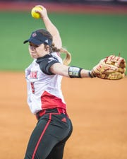 UL's Summer Ellyson gets the call to the circle as the Ragin' Cajuns play the Georgia State Panthers at Lamson Park on Thursday, April 18, 2019.