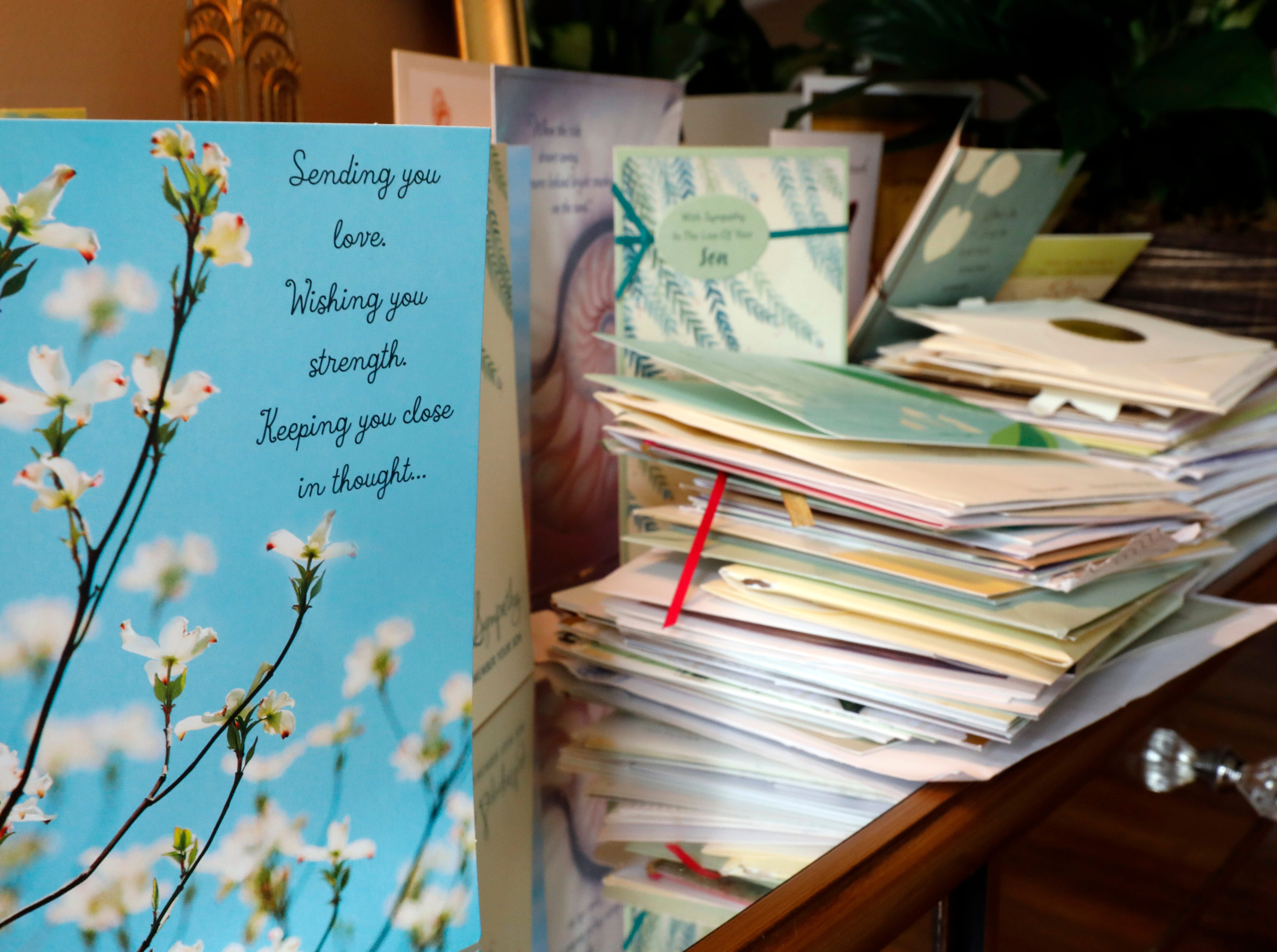 Stacks of sympathy cards sit on a table in the living room of Teri Mecionis's house in Lancaster. Mecionis, the mother of Sgt. Joseph Collette, spoke to the Eagle-Gazette to thank the community for the outpouring of support the family received after Collette's death in Afghanistan in March.