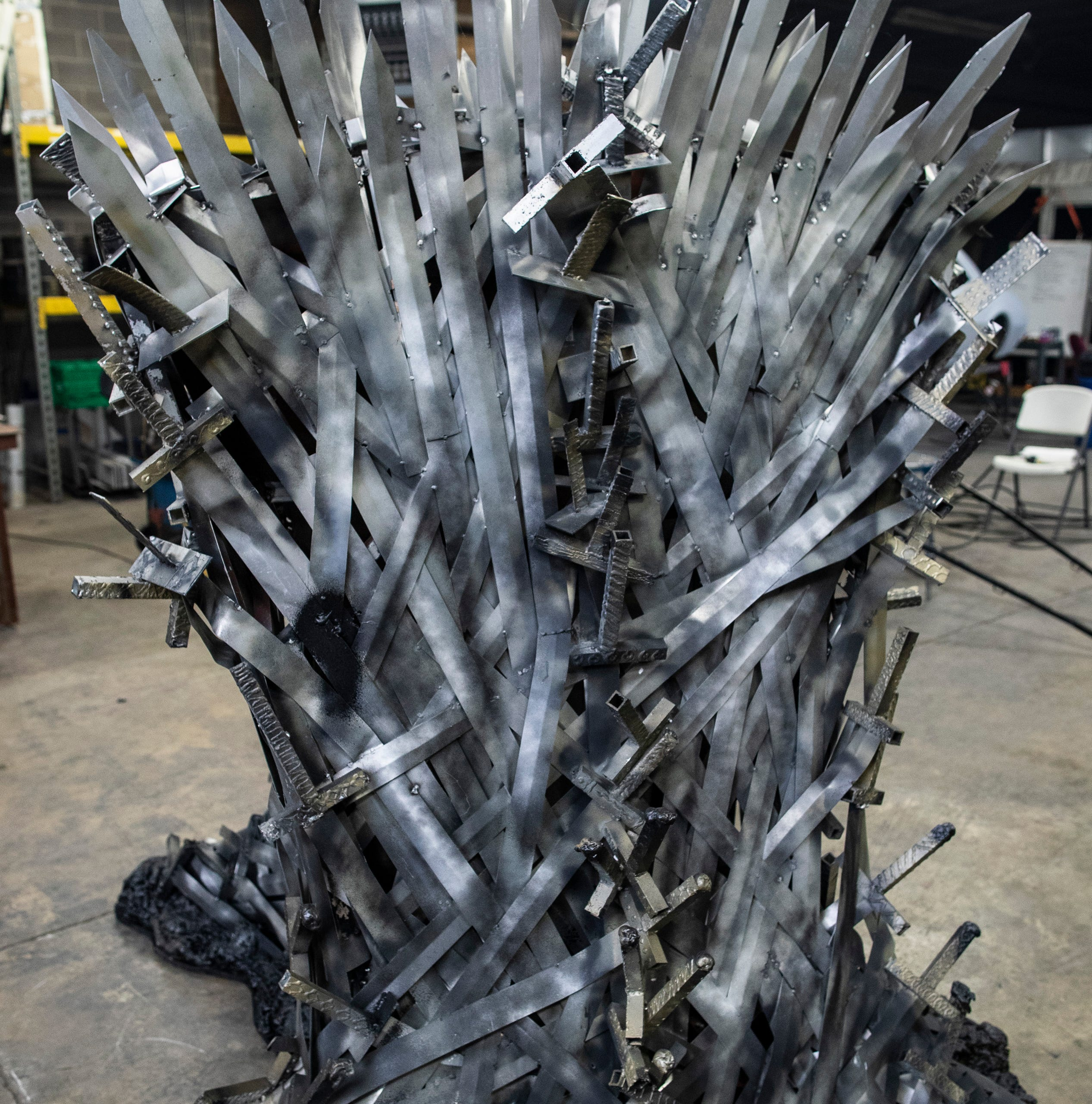 A rear view of the full-size replica of the Iron Throne on the Game of Thrones HBO series was made by students at the Knight School of Welding on 39th Street in Louisville. April 19, 2019