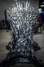 "A full-size replica of the Iron Throne on the ""Game of Thrones"" HBO series was made by students at the Knight School of Welding on 39th Street in Louisville, Ky."