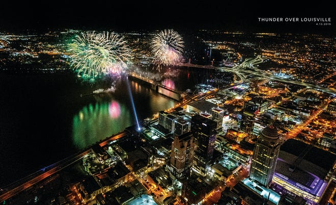 Fireworks light up Louisville and southern Indiana as Thunder Over Louisville kicks off the Kentucky Derby Festival. April 13, 2019