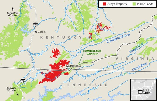 A map of the 100,000-acre Ataya property in Kentucky and Tennessee that was purchased by The Nature Conservancy.