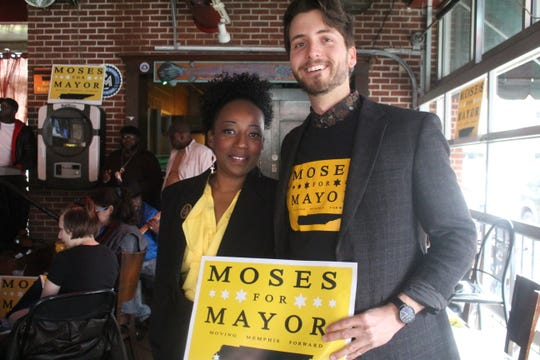 Pamela Moses (left) held a mayoral campaign event on Friday on Beale Street.