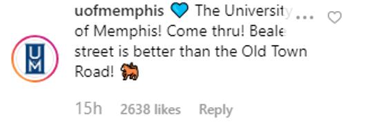 University of Memphis responds to Lil Nas X's query.