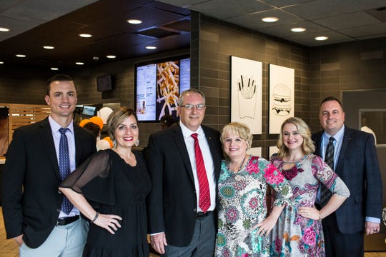 April 18, 2019 - From left, Matt Blaszczyk, Sara Blaszczyk, Steve Jeffers, Karen Jeffers, Natalie Jeffers, and Chris Jeffers inside of the family's McDonald's location at 1705 North Germantown Parkway. Steve and Karen Jeffers met at a McDonald's in Springfield, IL when they were 15.