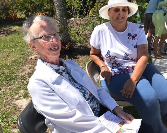 Syd Mellinger, former president of Calusa Garden Club and one of the Marco Island residents who championed the establishment of the Butterfly Garden at Calusa Park in 2009, with Sue Oldershaw, another former president of Calusa Garden Club who was formerly a member of the Marco Island Beautification Advisory Committee and who is active in the care and maintenance of the Butterfly Garden.